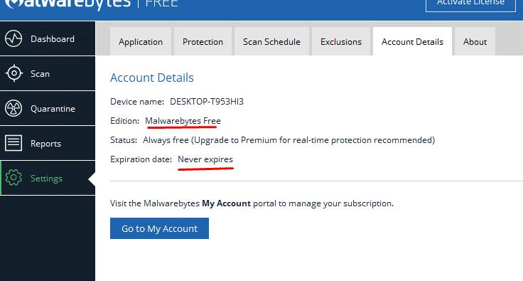 ผลลัพท์สถานะของ Malwarebytes