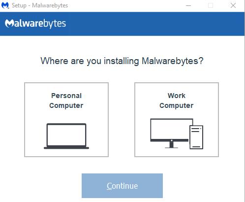 เลือกประเภทการติดตั้ง - วิธีโหลดและติดตั้ง Malwarebytes